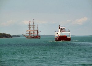 Tall ship and Ferry